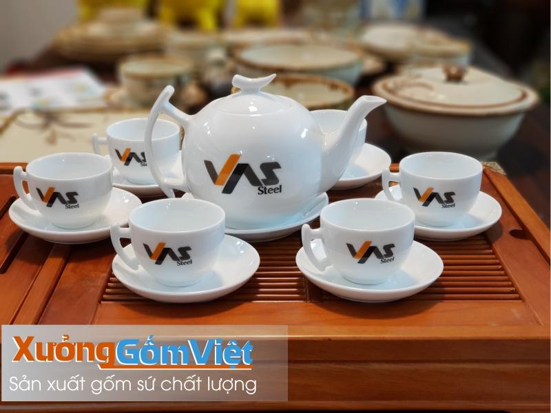 Bộ trà sứ trắng in logo làm quà tặng