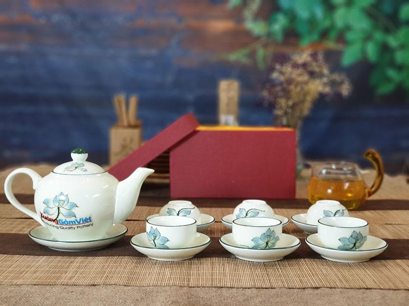 Bộ trà sứ thấp vẽ hoa sen ATV-14